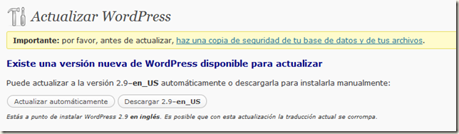 WordPress 2.9 - Actualizacion